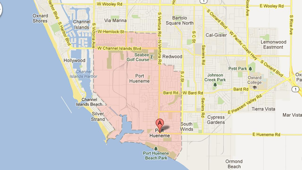 This map shows Port Hueneme in Ventura County.
