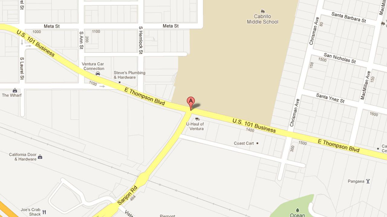 A map indicates the area in the 1300 block of East Thompson Boulevard in Ventura where Gary Ogden, 43, stole a rental truck from a U-Haul business on Friday, Feb. 15, 2013.