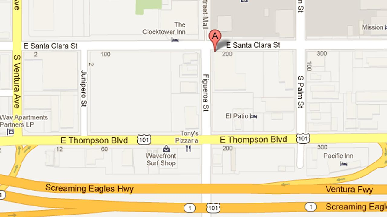 A map shows the 200 block of East Santa Clara Street in Ventura, where a bar fight involving numerous people left one man with a minor stab wound on Sunday, April 28, 2013. One suspect was arrested.