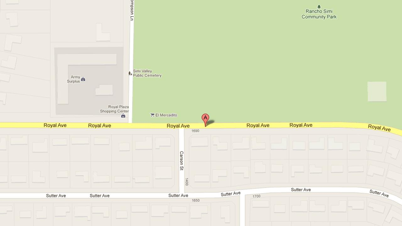 A map indicates the area near the 1700 block of Royal Avenue in Simi Valley where a juvenile was stabbed and a second assaulted with a baseball bat on Saturday, May 18, 2013.