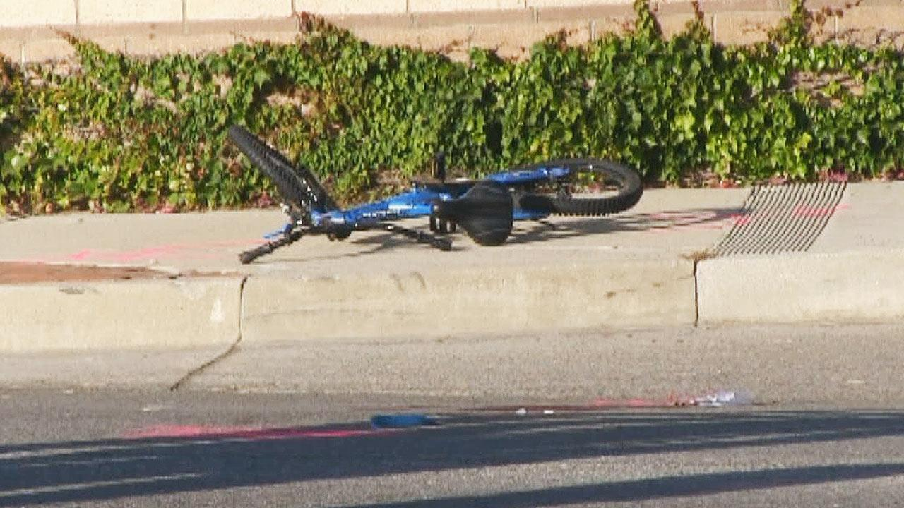 A 12-year-old boy on a bicycle was struck by a vehicle in Camarillo and died Sunday, June 16, 2013.