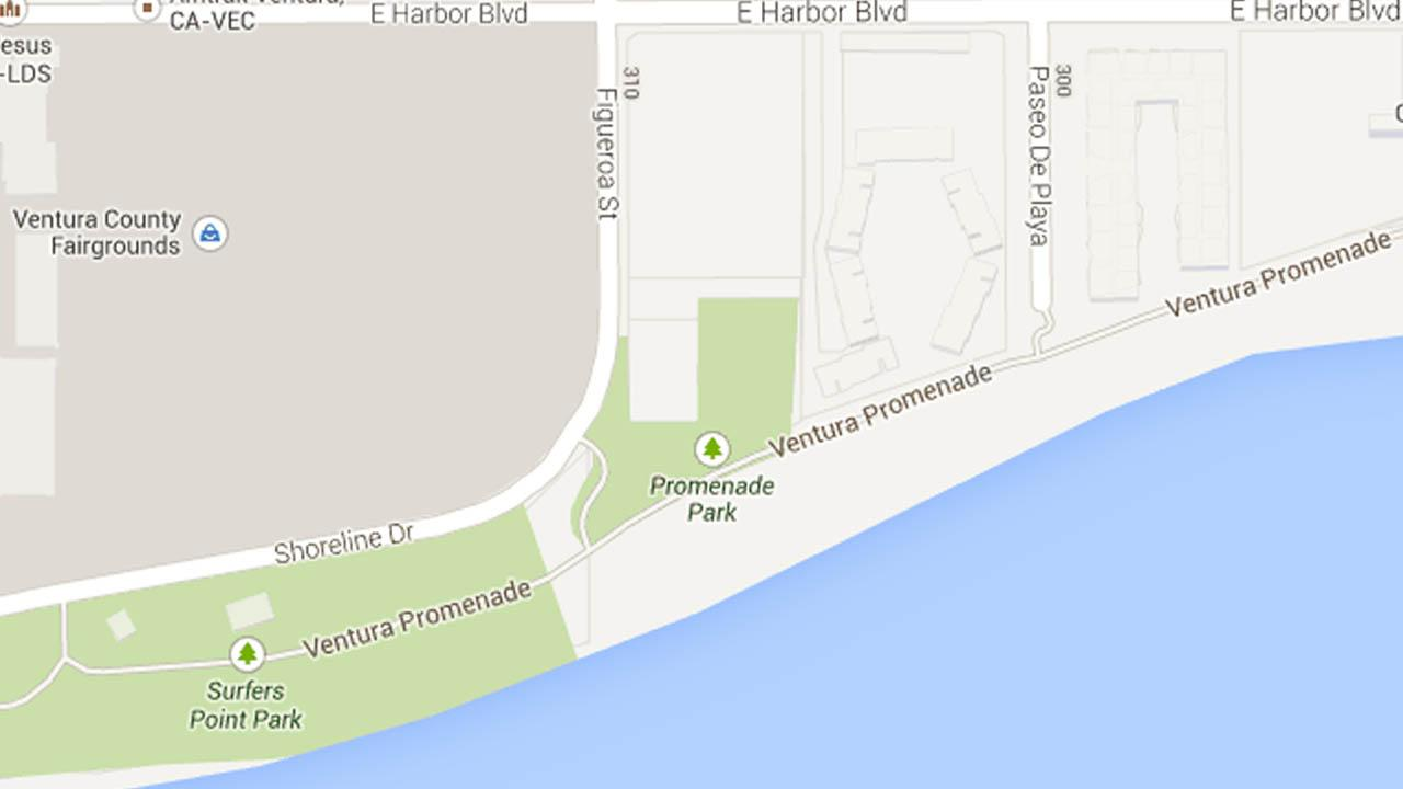 A map indicates the area between Paso De Playa and Surfers point in Ventura, Calif., where police suspect one vagrant punched another in an argument on Tuesday, July 30, 2013.