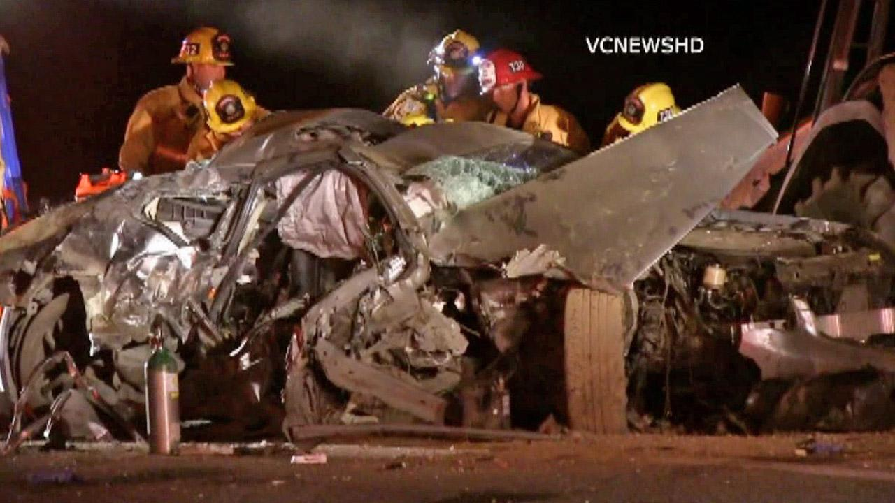 A solo-vehicle accident in Thousand Oaks left two people dead on Monday, Sept. 9, 2013.