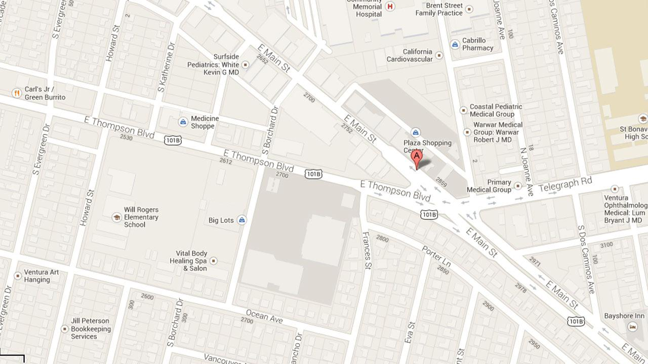 This Google Maps image shows the location of a Baskin Robbins in Ventura that got robbed on Tuesday, Sept. 17, 2013.