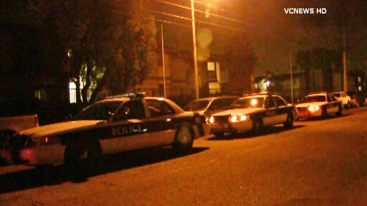 Law enforcement vehicles line up near the scene of a fatal stabbing on the 2400 block of Alvarado Street in El Rio on Wednesday, Sept. 25, 2013.