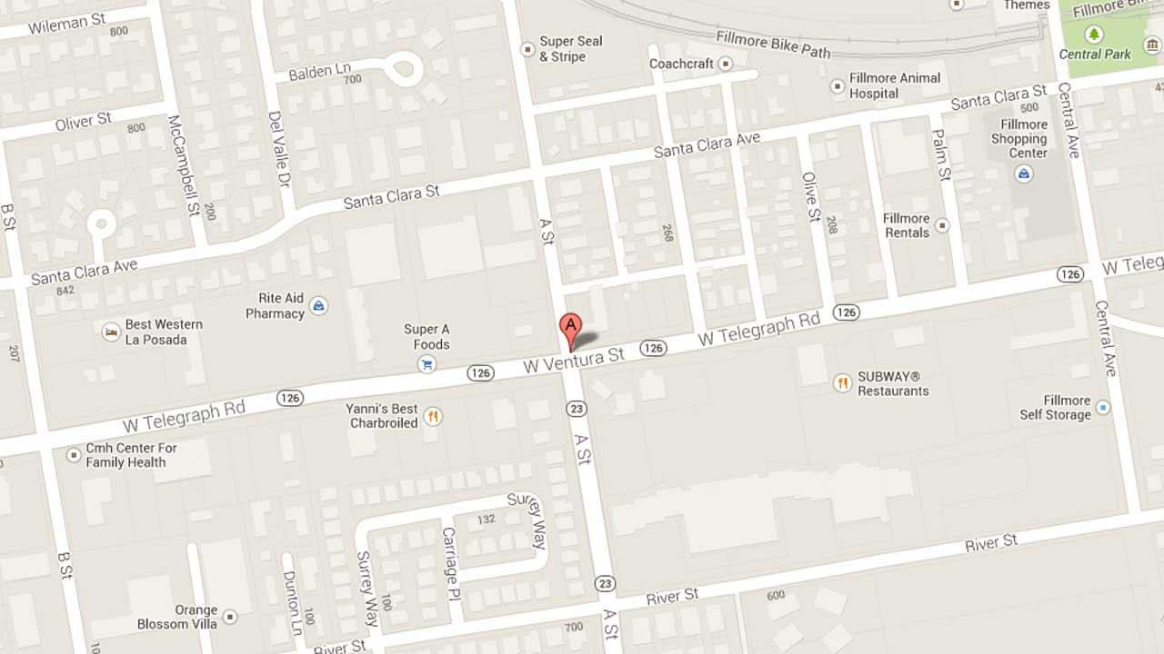 A map indicates the area near the 200 block of A Street in Fillmore where authorities arrested Rodrigo Jasso Ortiz, 36, of Oxnard after he was found to be in possession of two loaded rifles and methamphetamine Friday, Sept. 27, 2013.