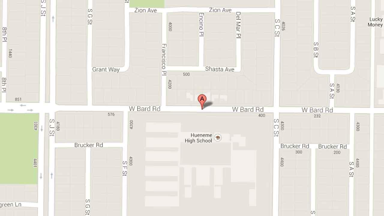 A map indicates the area near Hueneme High School in the 500 block of Bard Road in Oxnard where three juveniles were arrested for breaking into the campus Sunday, Oct. 13, 2013.