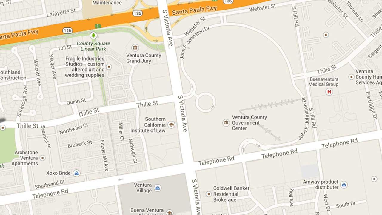 A map indicates the area near Victoria Avenue and Thille Street in Ventura where police responded to a report of a carjacking Sunday, Oct. 27, 2013.
