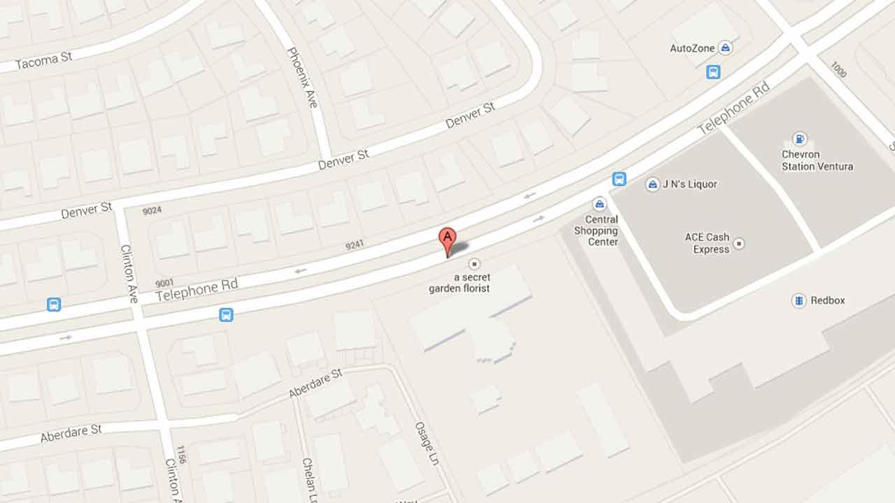 A map indicates the area near the 9200 block of Telephone Road in Ventura where 18-year-old Christopher Czechorowski was arrested for robbery after stealing a victims phone on Saturday, Nov. 23, 2013.