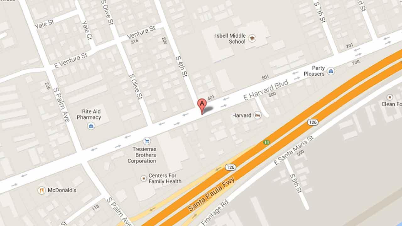 A map indicates the area near a car wash on the 400 block of East Harvard Boulevard in Santa Paula where three suspects carjacked a man at gunpoint on Sunday, Nov. 24, 2013.