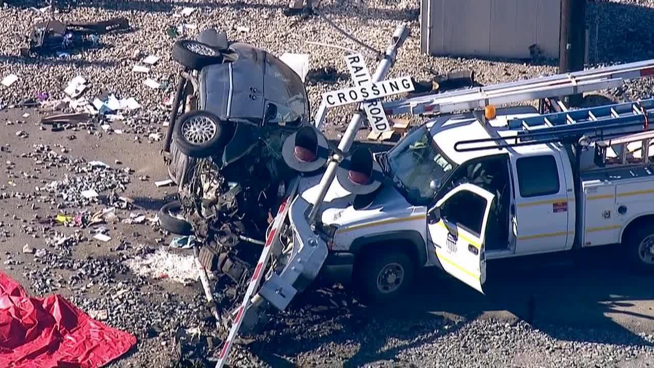 A vehicle slammed into an Amtrak train and then struck a pickup truck in Camarillo on Monday, Dec. 30, 2013.