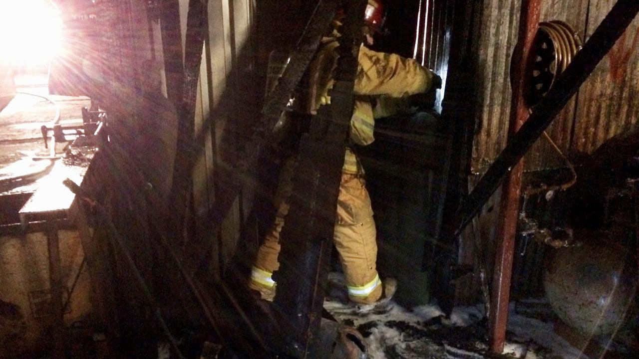 Firefighters knocked down a blaze at an industrial complex in Ventura shortly after 11:40 p.m. Monday, January 6, 2014.