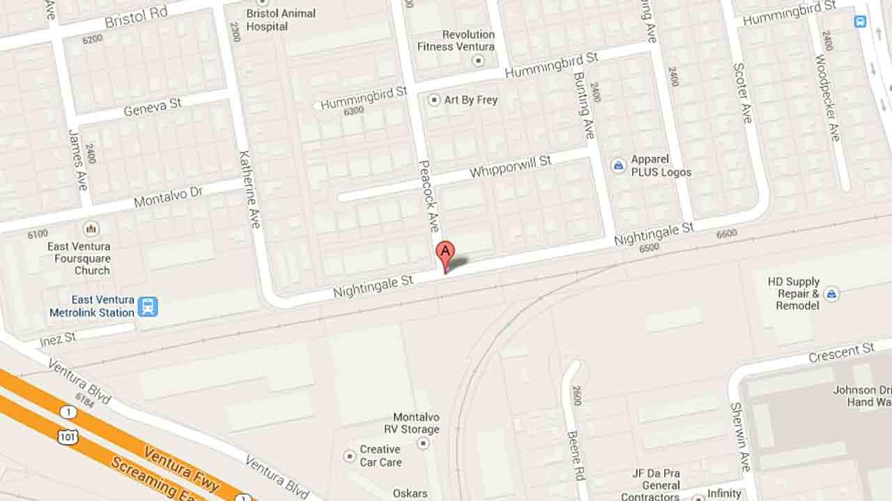 A map indicates the area near the 6400 block of Nightingale Street where a pedestrian was struck by a hit-and-run driver Friday, Jan. 24, 2014.
