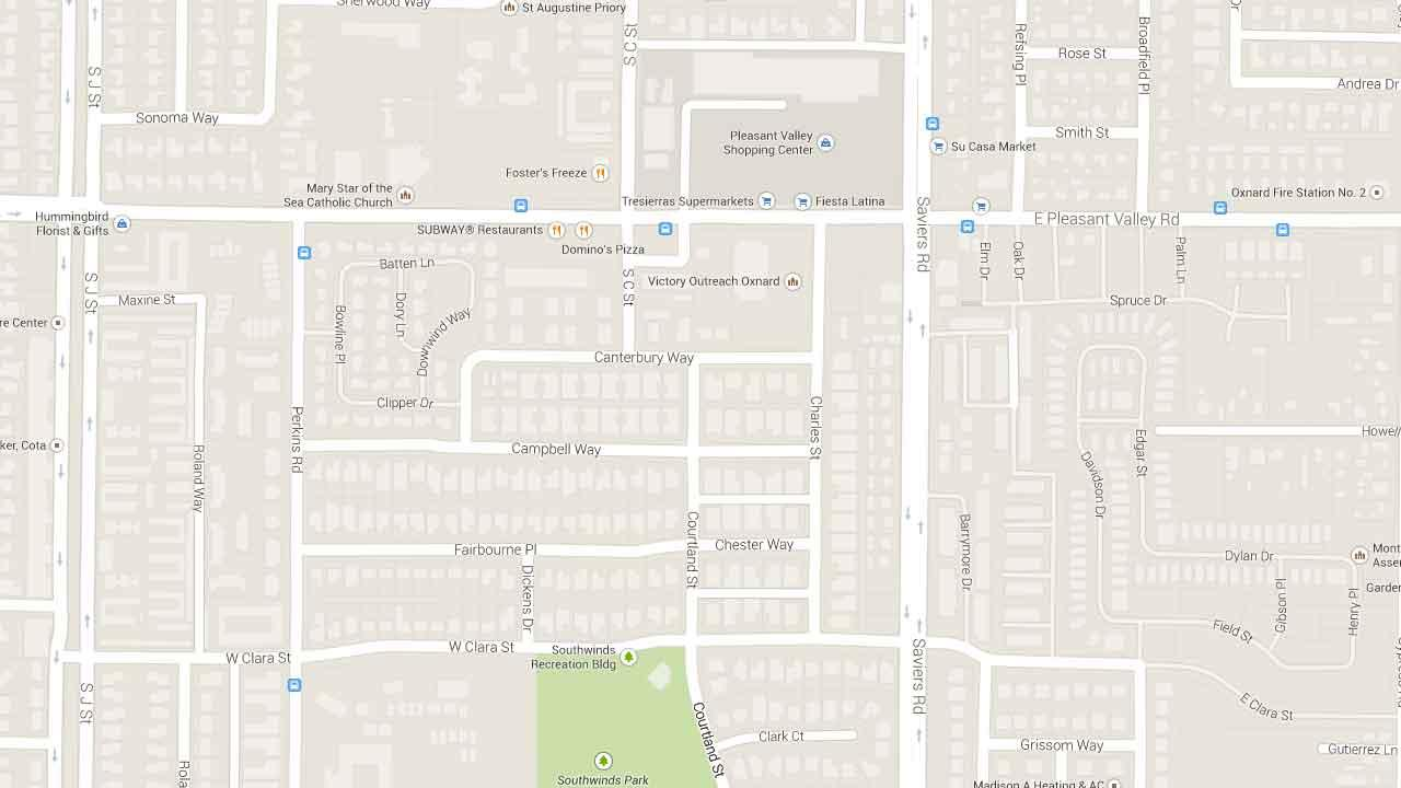 A map indicates the area near Courtland Street and Canterbury Way in Oxnard where a 26-year-old man was fatally shot Friday, Feb. 21, 2014.