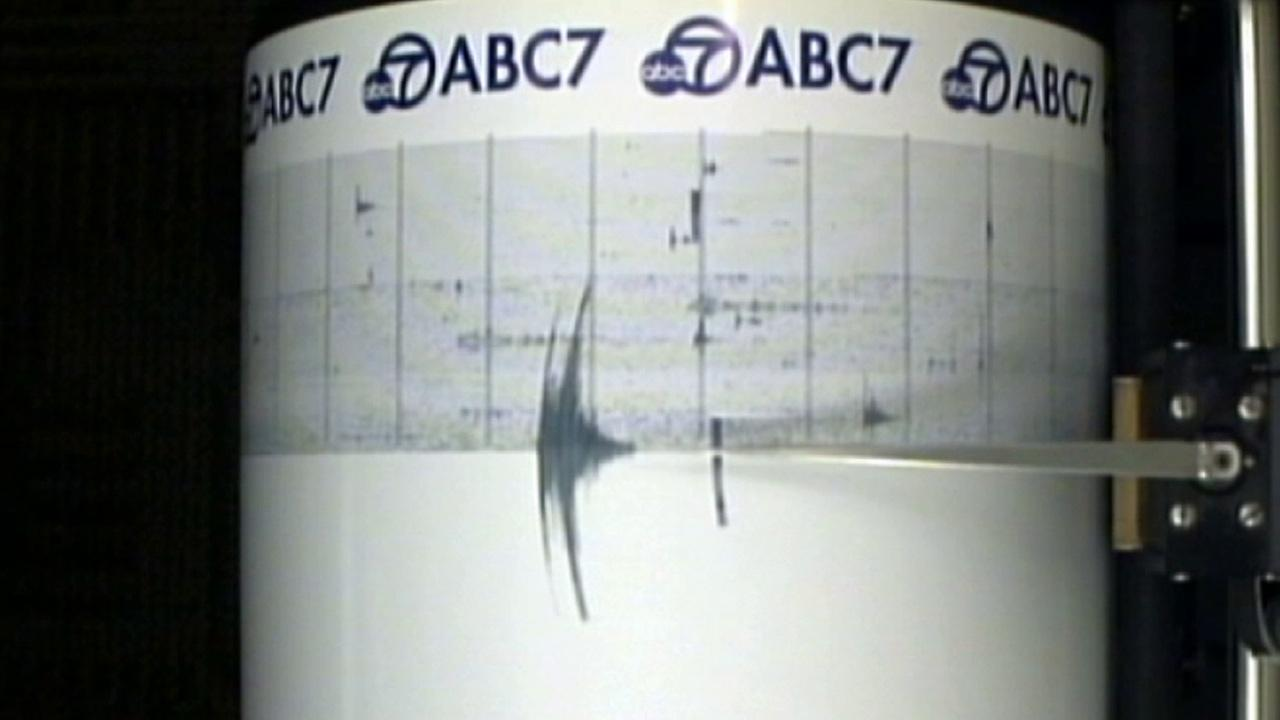 Shaking from a 3.1-magnitude earthquake is seen on the ABC7 Quake Cam on Thursday, April 3, 2014.