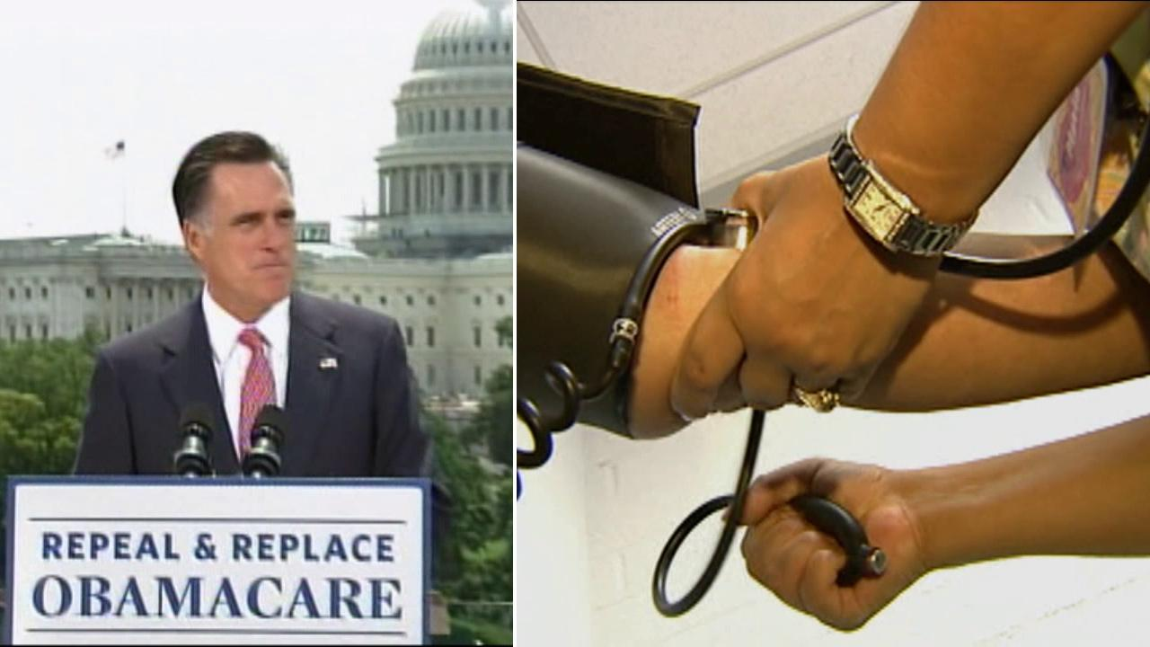 (Left) Republican presidential candidate, former Massachusetts Gov. Mitt Romney speaks about the Supreme Courts health care ruling, Thursday, June 28, 2012, in Washington. (Right) A patient gets a blood pressure reading in this undated file photo.