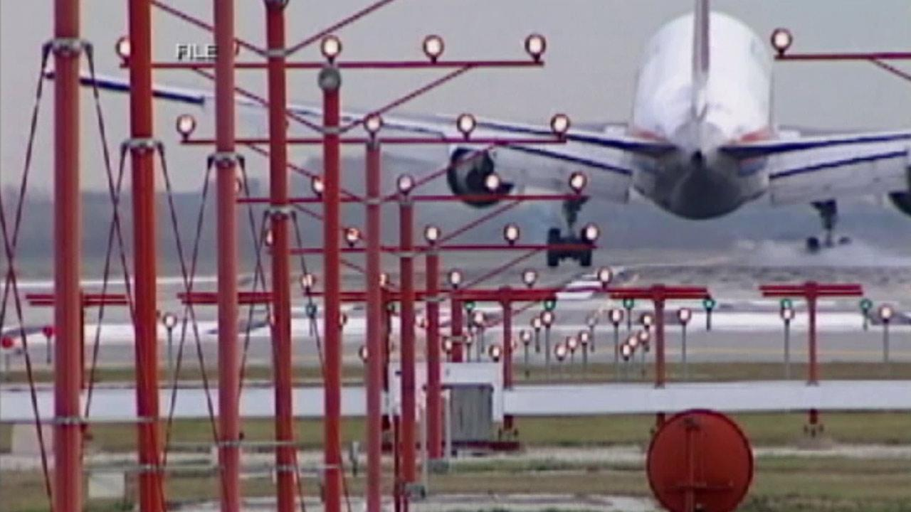 An airplane is shown on a runway in this undated file photo.