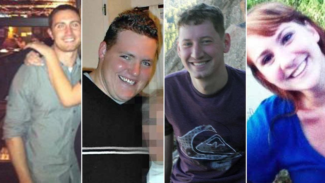 Alex Teves, 24, Alex Sullivan, 27, John Larimer, 27, and Jessica Ghawi, 24, are shown in this photo. They were among the 12 people killed in a mass shooting in a movie theater in Aurora, Colo. on July 21, 2012.