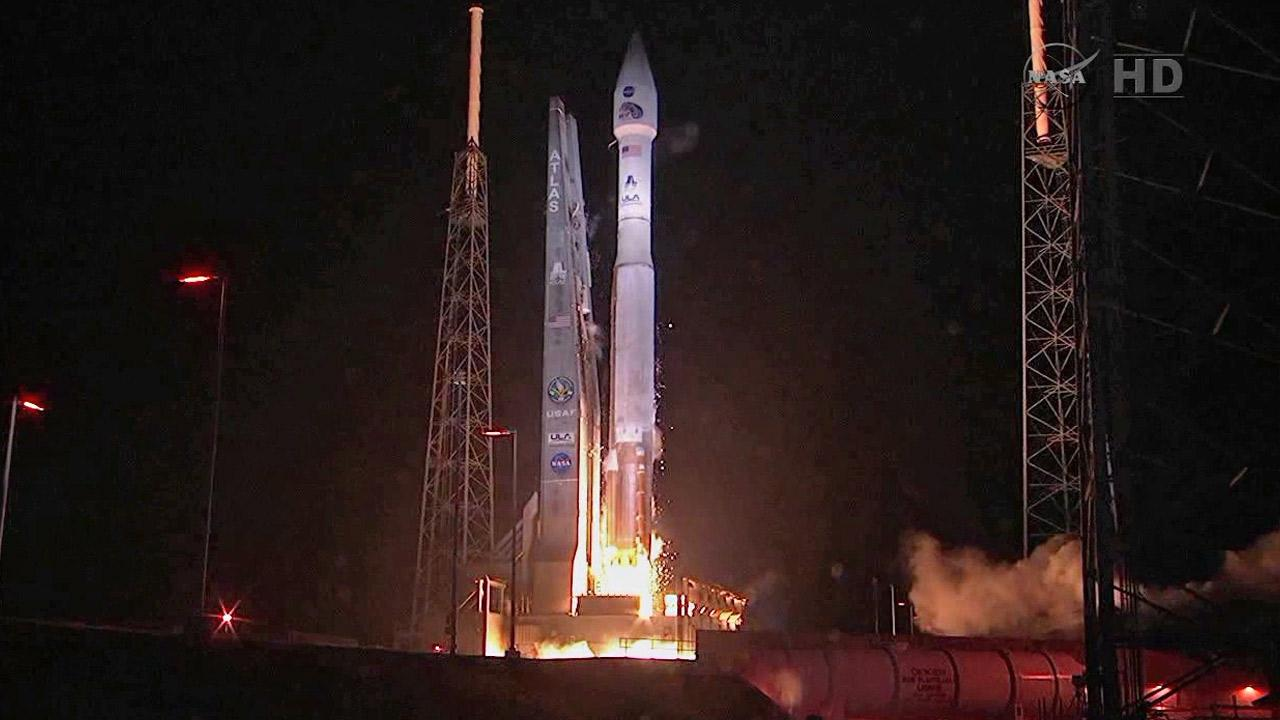 This framegrab image from NASA-TV shows the launch of two satellites at Cape Canaveral Air Force Station, Florida early Thursday Aug. 30, 2012.