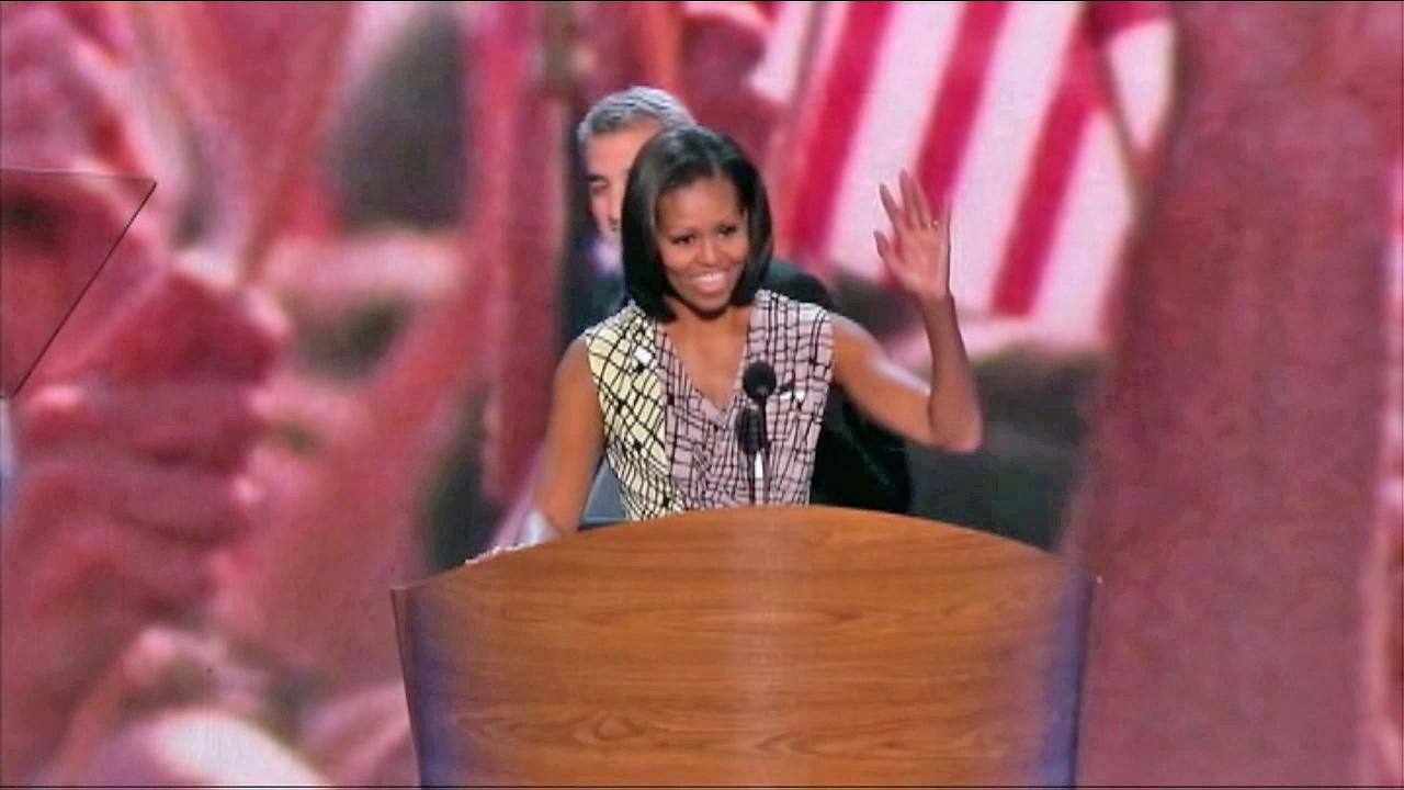 First lady Michelle Obama is seen practicing her speech for the Democratic National Convention in Charlotte, N.C., on Monday, September 3, 2012.