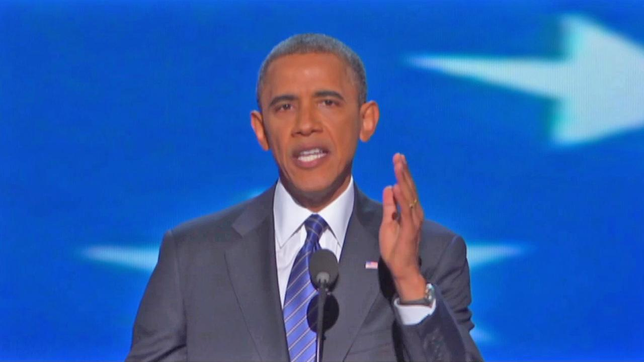 President Obama is seen speaking during his nomination acceptance speech during the Democratic National Convention on Thursday, September 06, 2012.