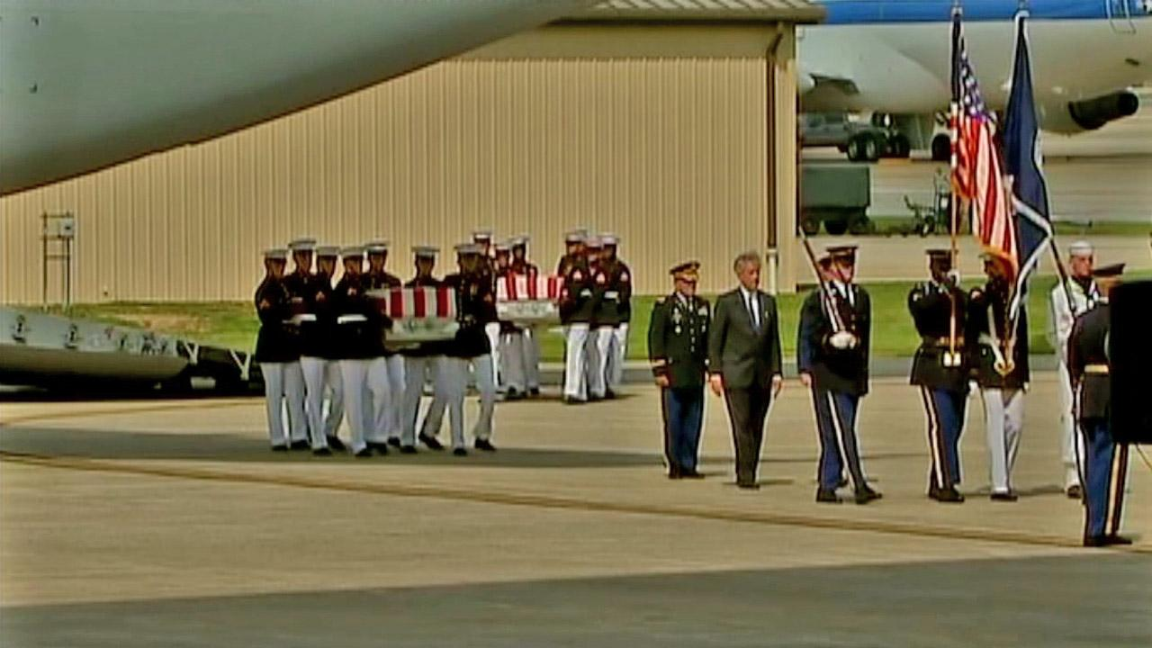 The bodies of the four Americans killed in an attack on the consulate in Benghazi return to Andrews Air Force Base on Friday, Sept. 14, 2012.