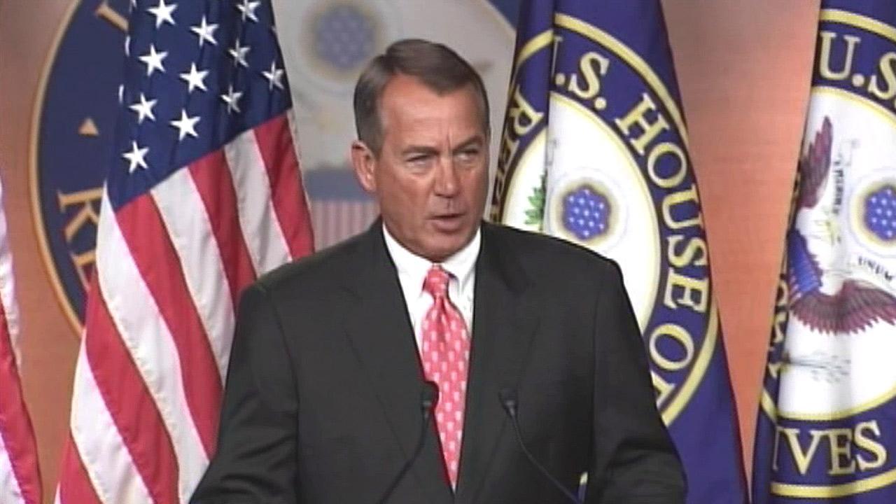 House Speaker John Boehner speaks to the press in this undated file photo.