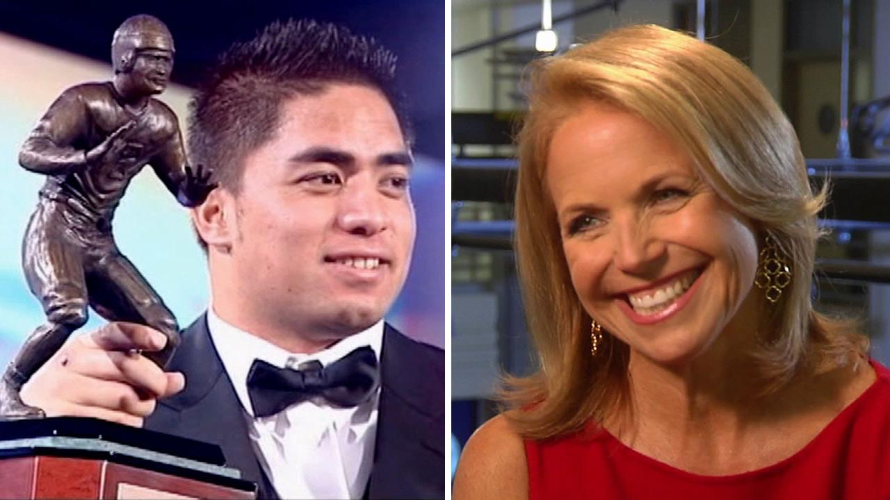 Notre Dame football star Manti Teo (left) and ABC News Katie Couric (right) are seen in this undated split image.
