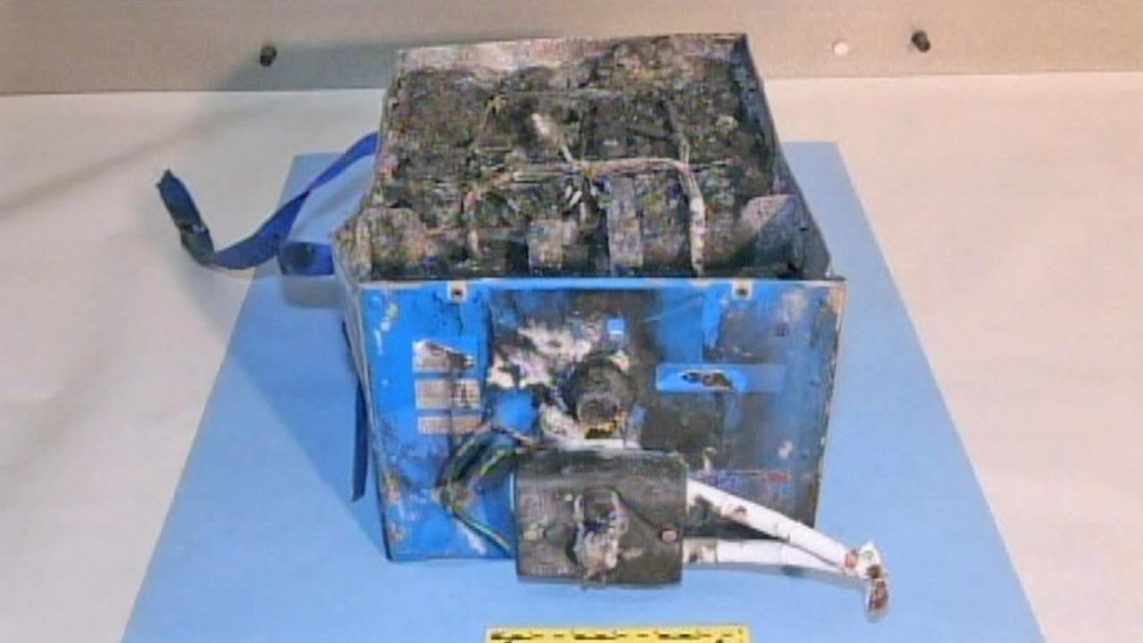A Dreamliner battery that caught fire is seen in this undated file photo.