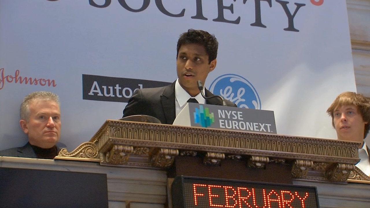 Kairos Society founder Ankur Jain of Marina del Rey at the New York Stock Exchange in February 2013.