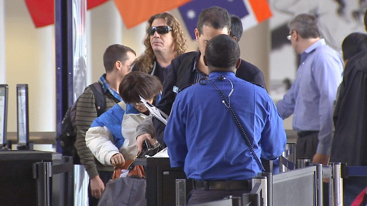 Airline passengers file in line before a Transportation Security Administration agent in this undated file photo.