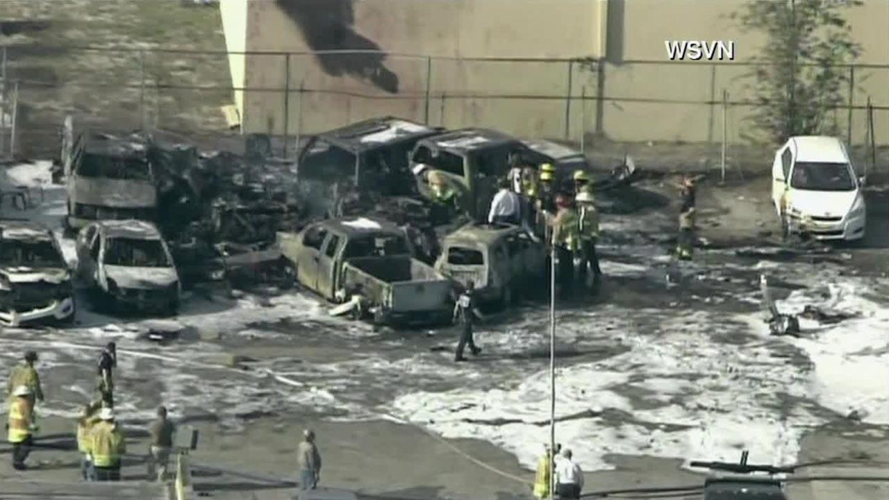 A small plane crashed into a parking lot near Fort Lauderdale Executive Airport Friday, March 15, 2013, killing all three people onboard.