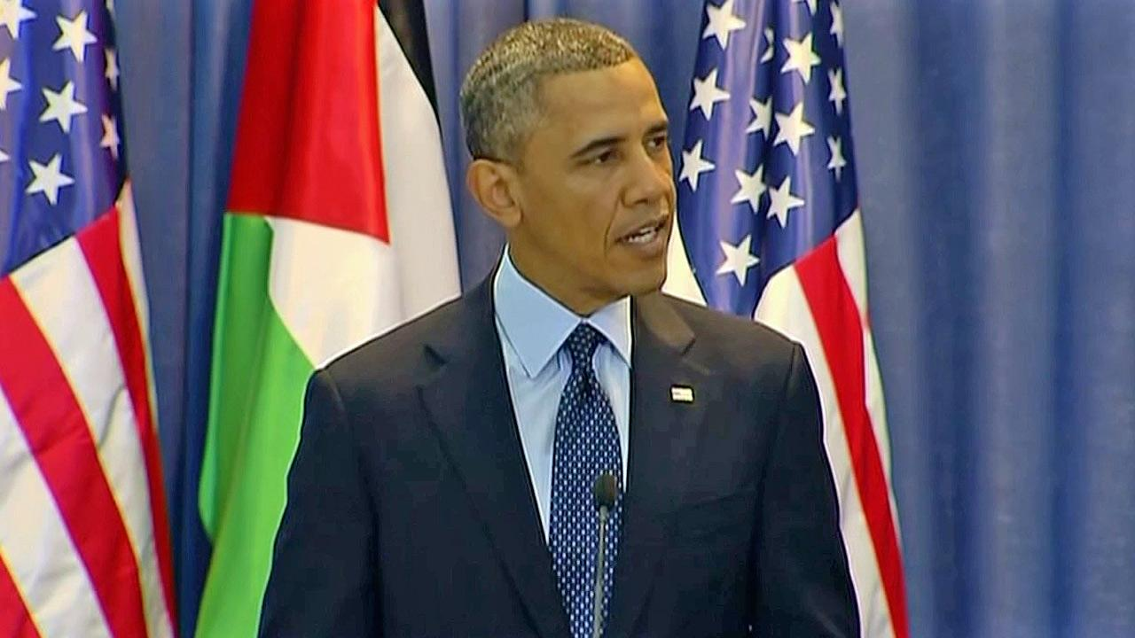 President Barack Obama speaks at a news conference during his Mideast tour in March, 2013.