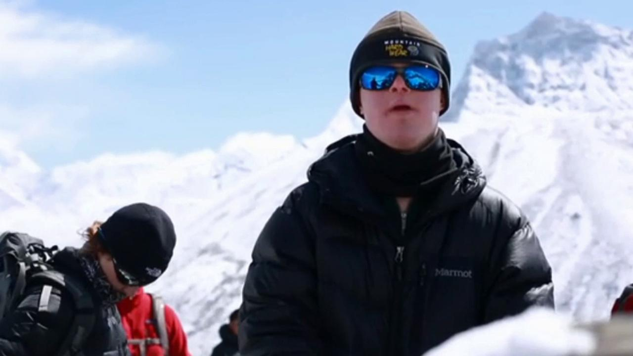 Eli Reimer, 15, is shown in this photo. Reimer, who has Down syndrome, became the first person to climb to the base camp of Mount Everest.