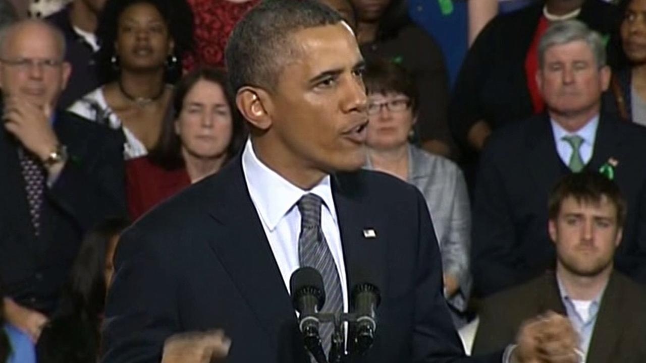 President Barack Obama talks at Connecticuts University of Hartford on Monday, April 8, 2013.