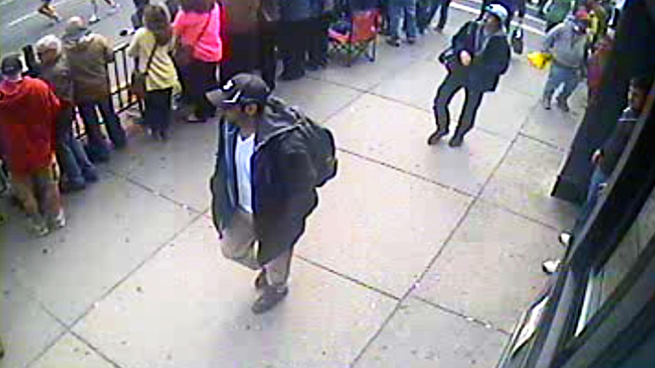 This image from surveillance video released Thursday, April 18, 2013 by the FBI shows two suspects sought in connection with the Boston Marathon bombings that killed three people and injured more than 170 others.