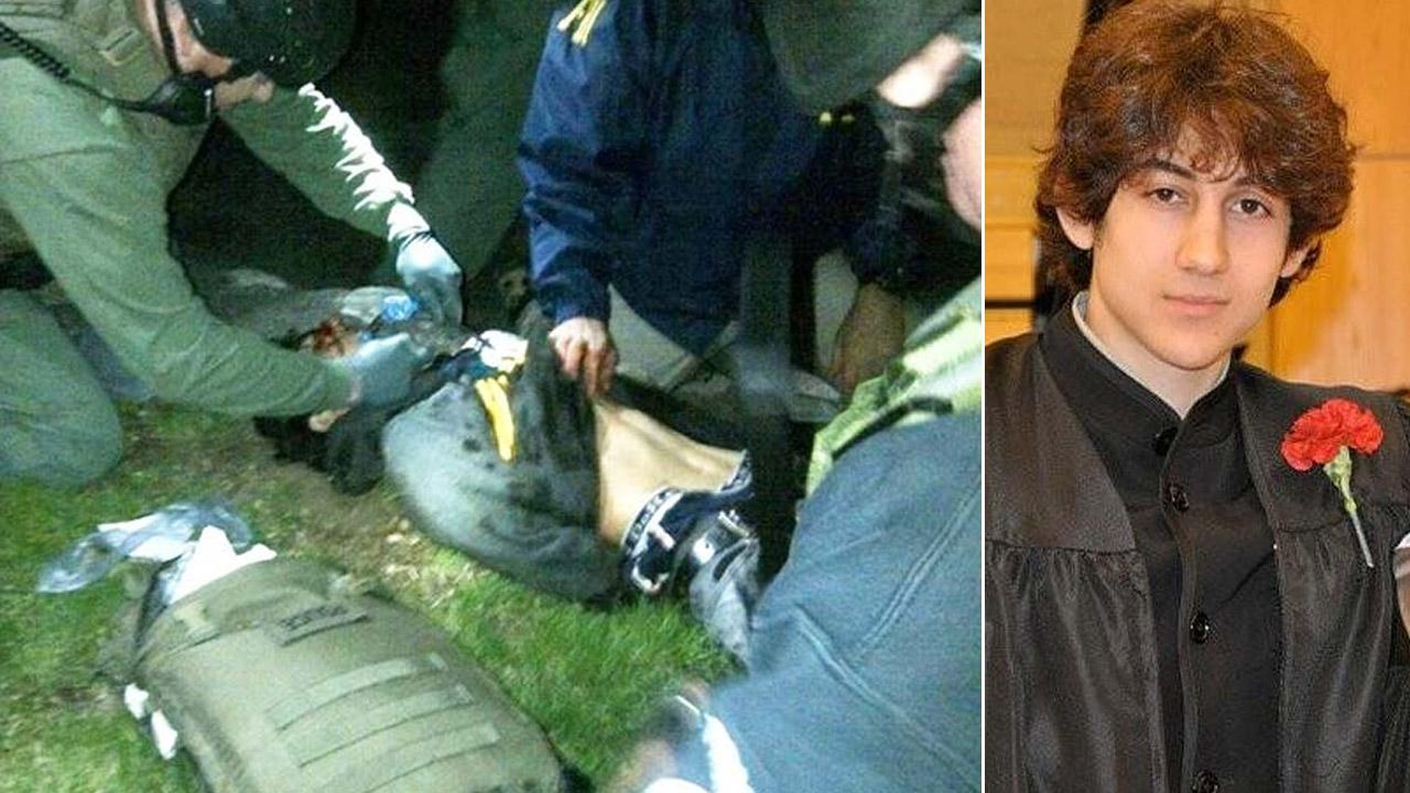 (Left) A medic works on Boston Marathon bombing suspect Dzhokhar Tsarnaev moments after he was captured in on Friday, April 19, 2013. (Right) In this undated photo provided by Robin Young, Dzhokhar Tsarnaev poses for a photo after graduating high school.