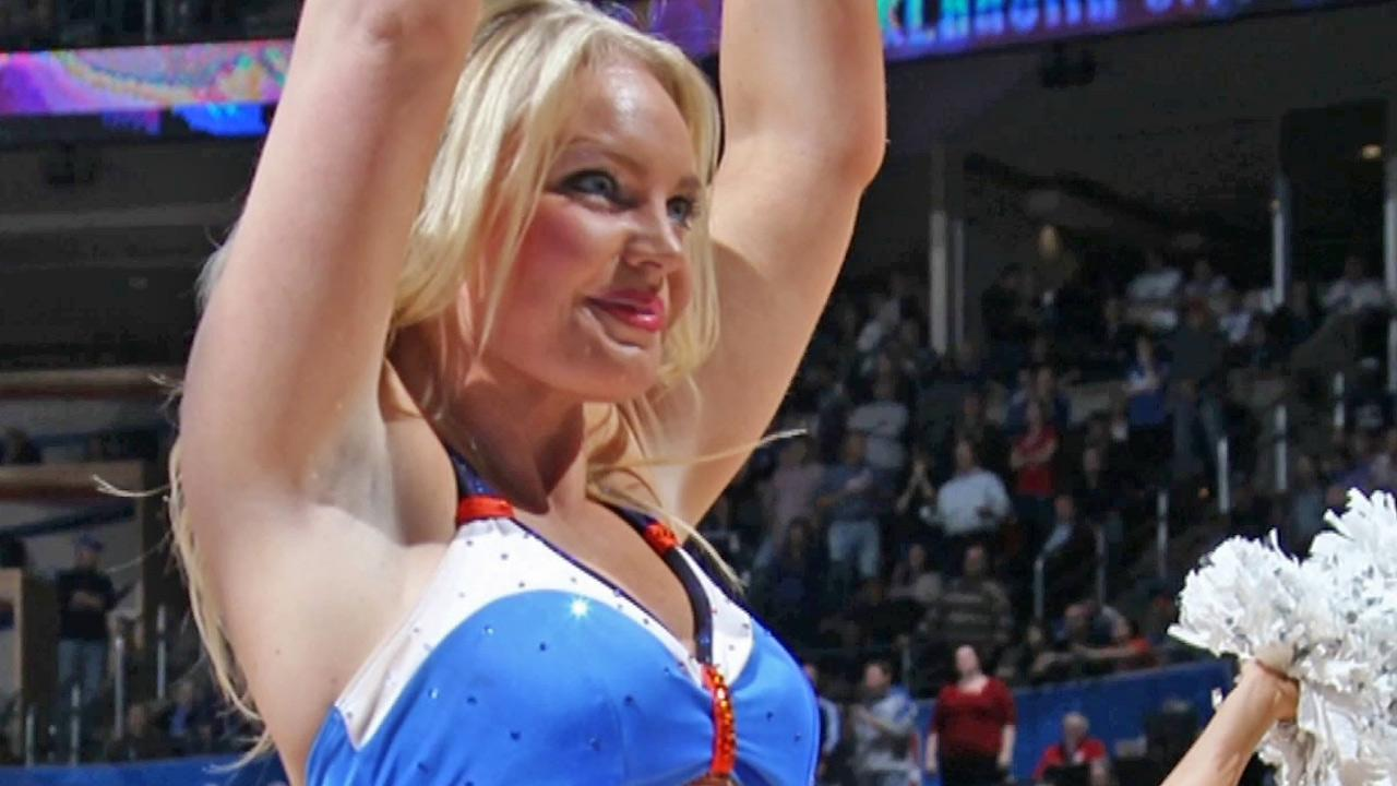 OKC Thunder cheerleader Kelsey Williams is seen.