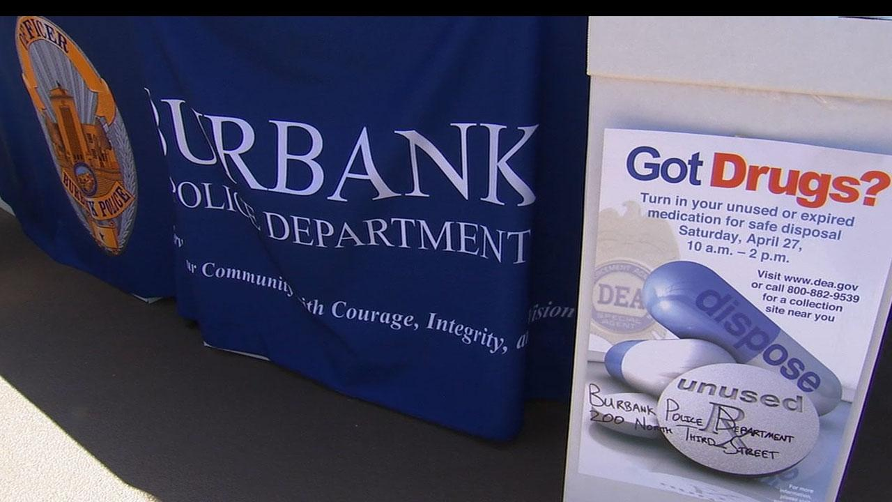 The Burbank Police Department held a drug take-back event to help people get rid of unneeded prescriptions on Saturday, April 27, 2013.