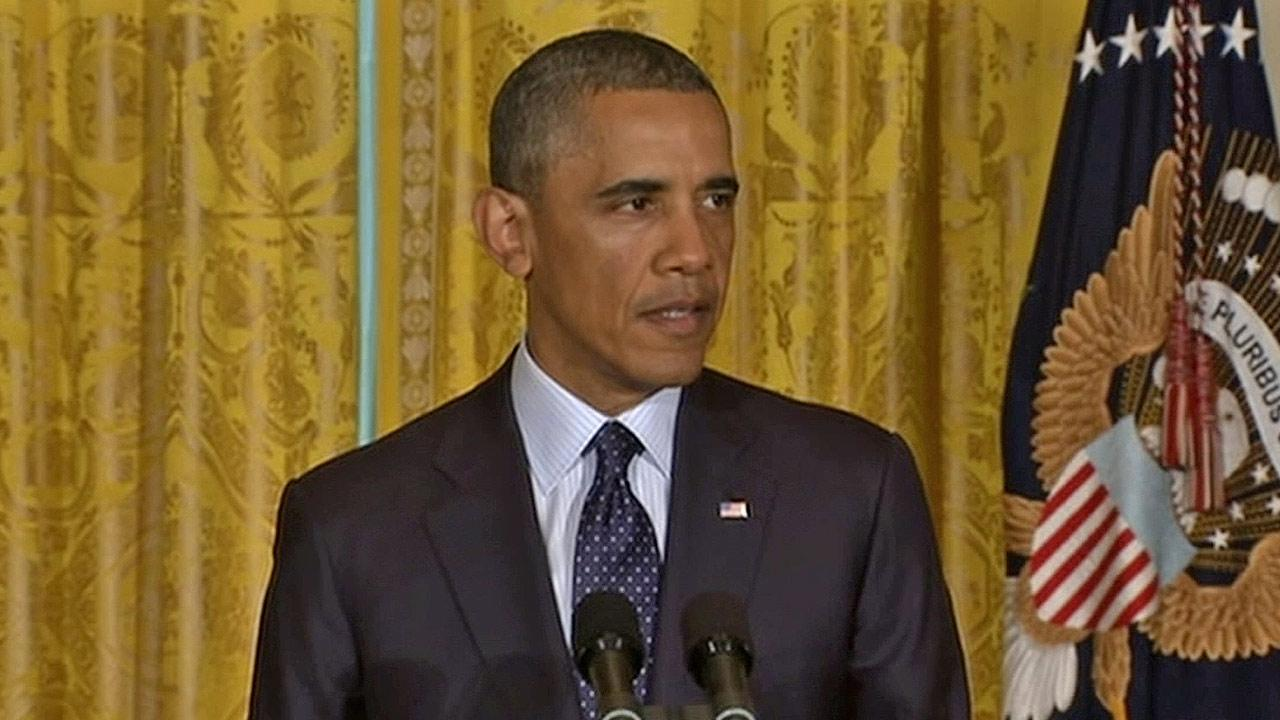 President Barack Obama makes a statement on the IRS controversy on Wednesday, May 15, 2013.