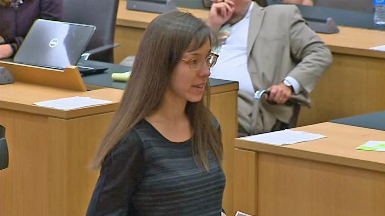 Jodi Arias reads a statement to a jury during a penalty hearing on Tuesday, May 21, 2013. Arias pleaded for a life sentence after stating in a post-conviction interview that she preferred death to life in prison.