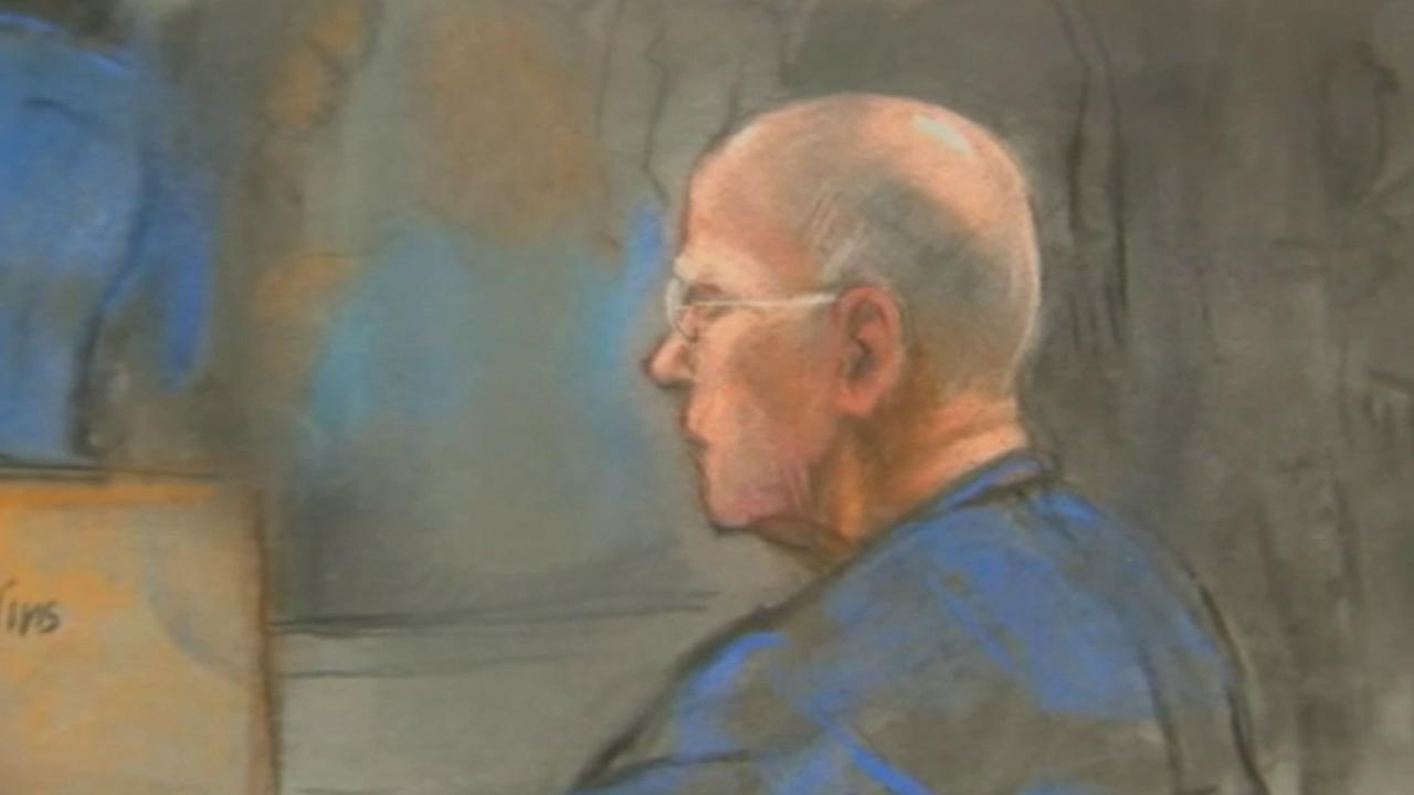 This courtroom sketch show James Whitey Bulger during his racketeering trial in U.S. District Court in Boston.