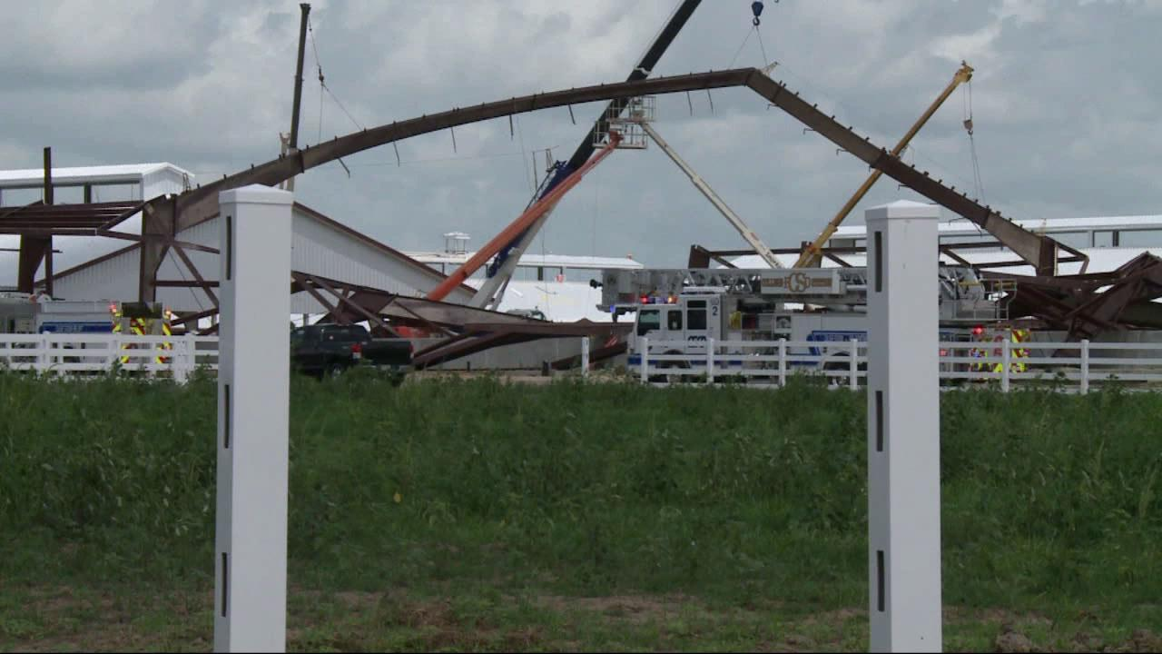 Emergency medical personnel responded to the scene of a construction accident after a barn frame collapsed at Texas A&M University on Saturday, June 22, 2013.