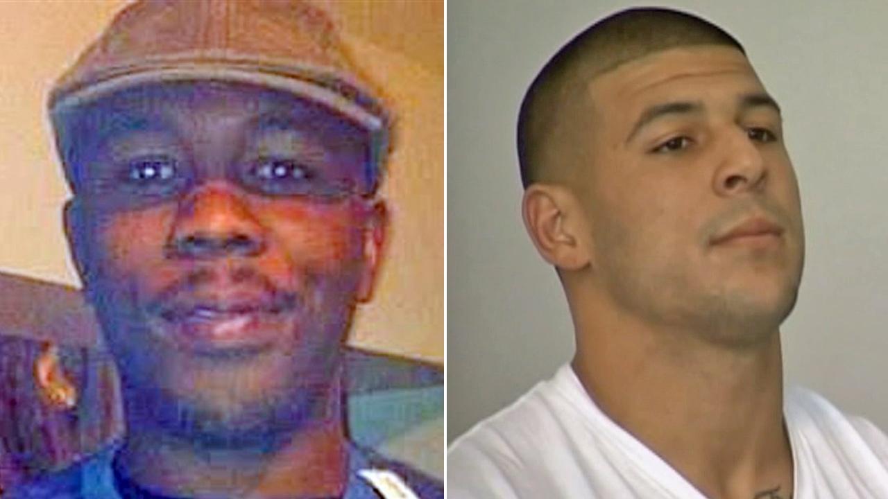(Left) This Dec. 25, 2012 file photo shows Odin Lloyd, 27, whose body was found Monday, June 17, 2013 in North Attleborough, Mass. (Right) Ex-New England Patriots player Aaron Hernandez appears at an arraignment Wednesday, June 26, 2013.