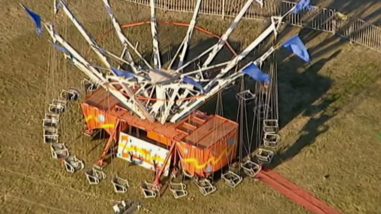 Police say a dozen children were injured when an amusement ride at a Norwalk, Conn., fair broke down on Sunday, Sept. 8, 2013.