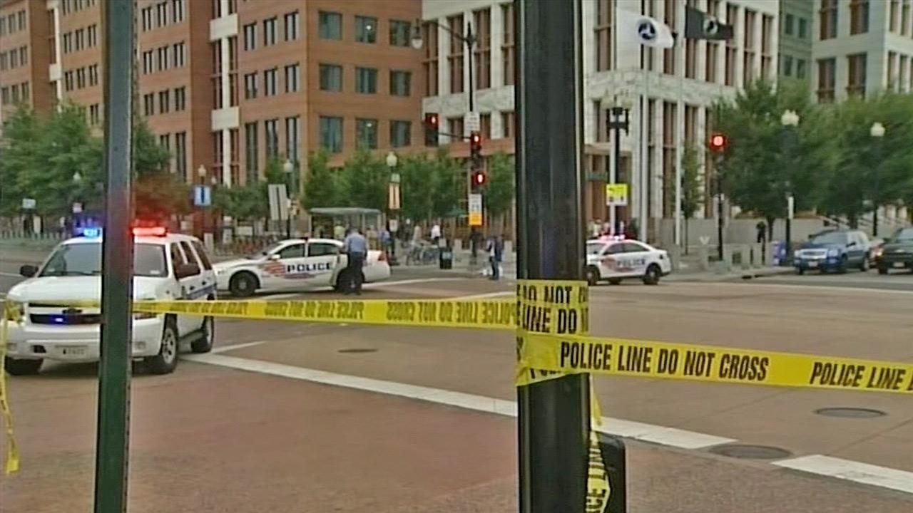 A heavy police presence near the scene of a shooting at the Washington D.C. Navy Yard on Monday, Sept. 16, 2013.