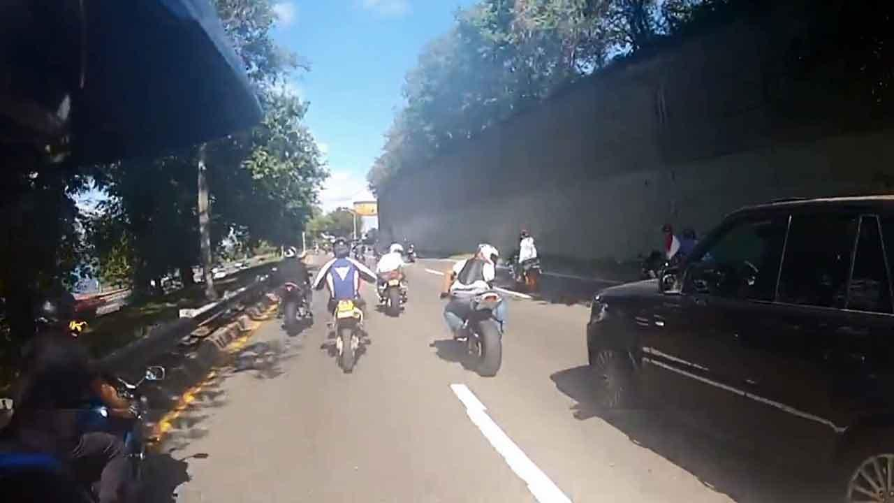 A still image from video footage shows a confrontation between a group of bikers and an SUV in New York City on Sunday, Sept. 29, 2013.