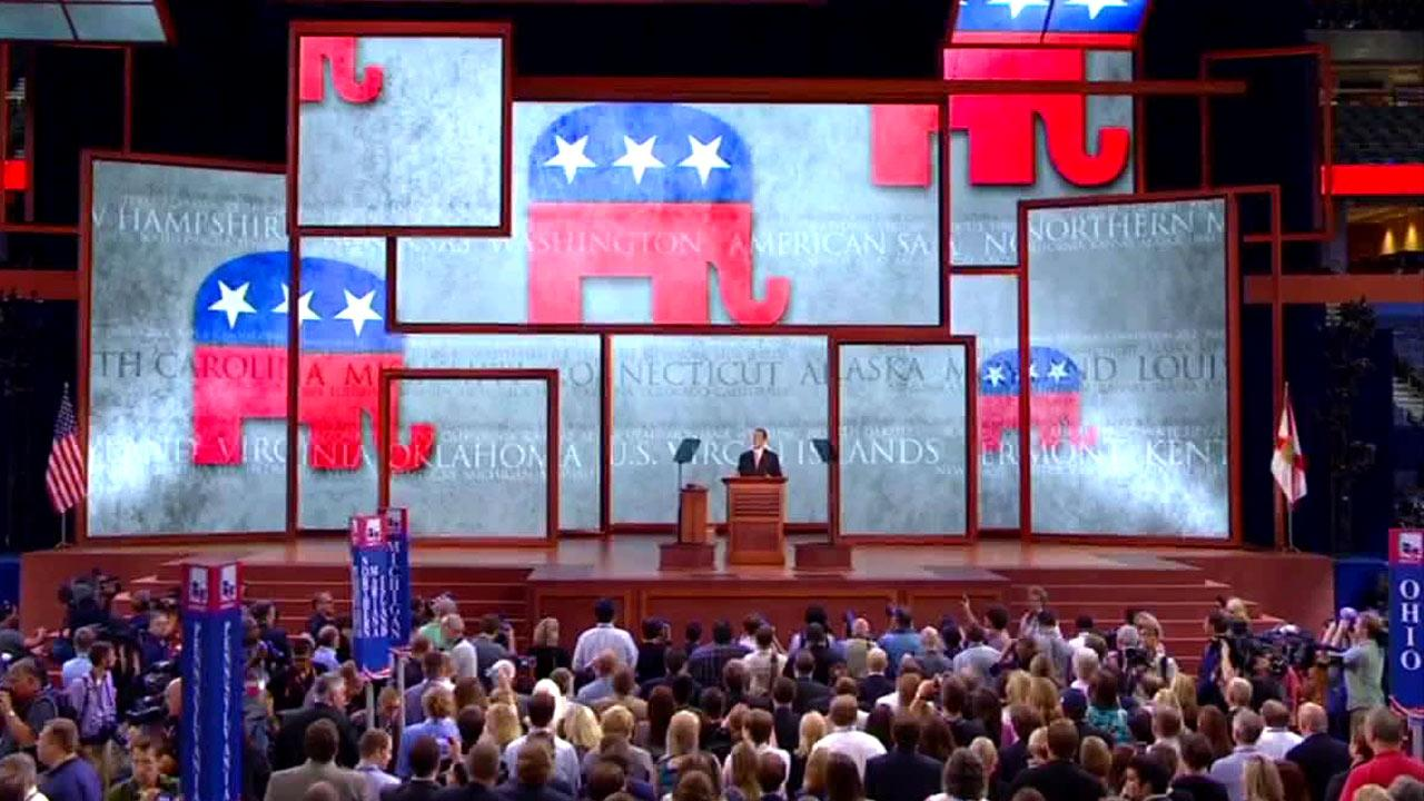 The Republican National Convention began Monday, Aug. 27, 2012, with the banging of a gavel by Party Chairman Reince Priebus, and then almost immediately recessed due to Tropical Storm Isaac.
