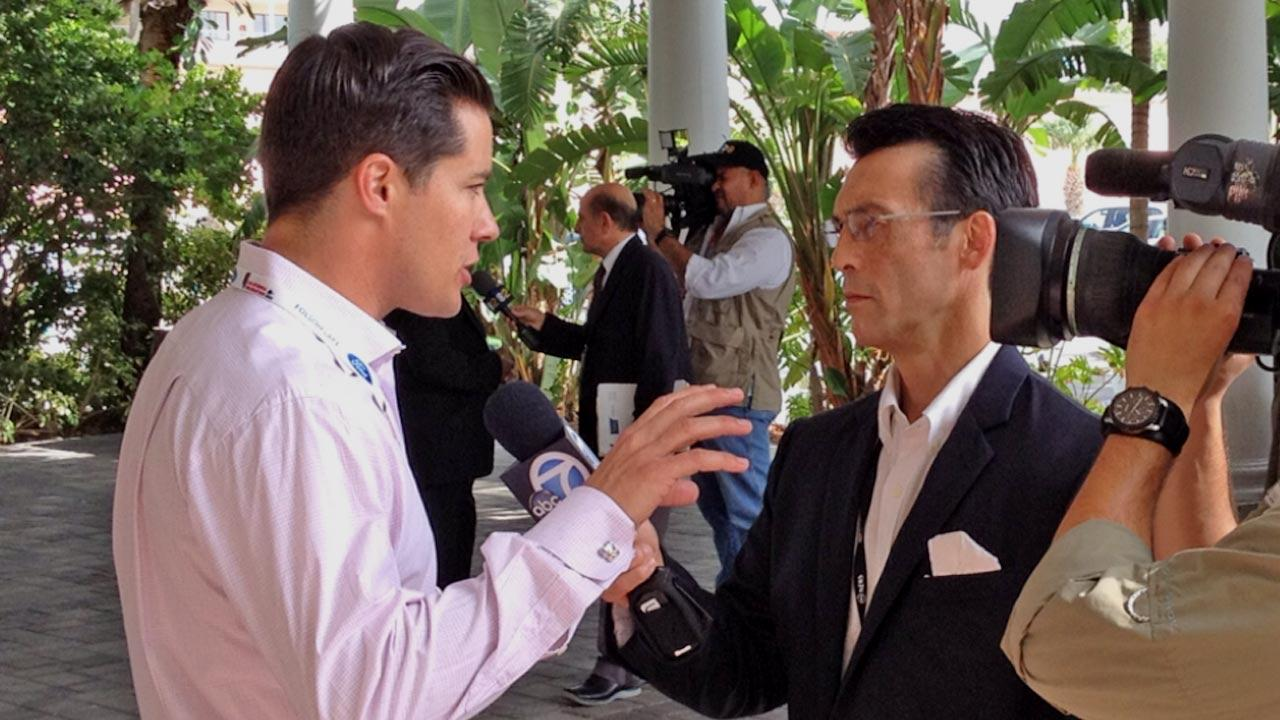 ABC7 Eyewitness News Anchor David Ono interviews California delegate and former Bachelor Andrew Firestone at the Republican National Convention in Tampa, Fla., on Tuesday, Aug. 28, 2012.