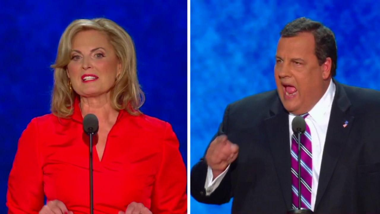Ann Romney, wife of former Massachusetts Gov. Mitt Romney, and New Jersey Gov. Chris Christie speak at the Republican National Convention in Tampa, Fla., on Tuesday, Aug. 28, 2012.